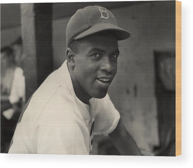 Jackie Robinson Wood Print featuring the photograph Jackie Robinson by Hulton Archive