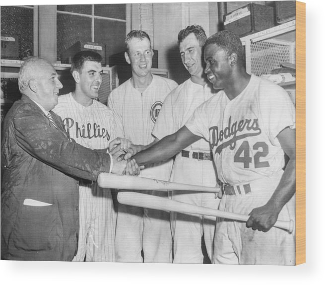 American League Baseball Wood Print featuring the photograph Jackie Robinson by The Stanley Weston Archive