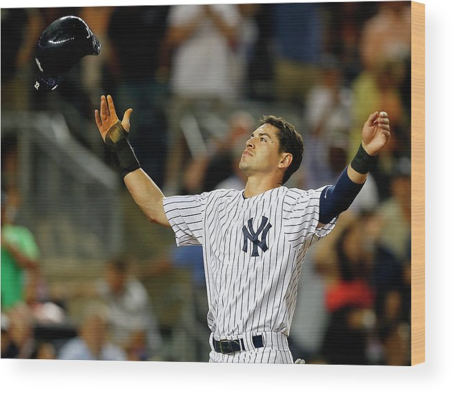 Headwear Wood Print featuring the photograph Jacoby Ellsbury and Mark Teixeira by Rich Schultz