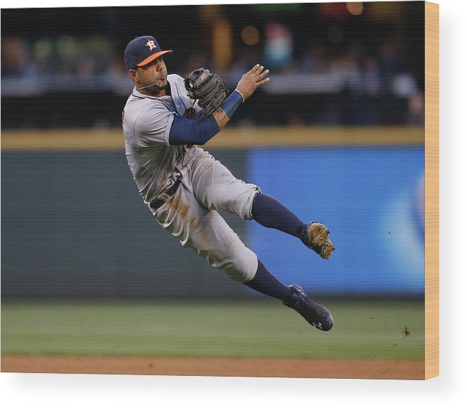 American League Baseball Wood Print featuring the photograph James Jones and Jonathan Villar by Otto Greule Jr