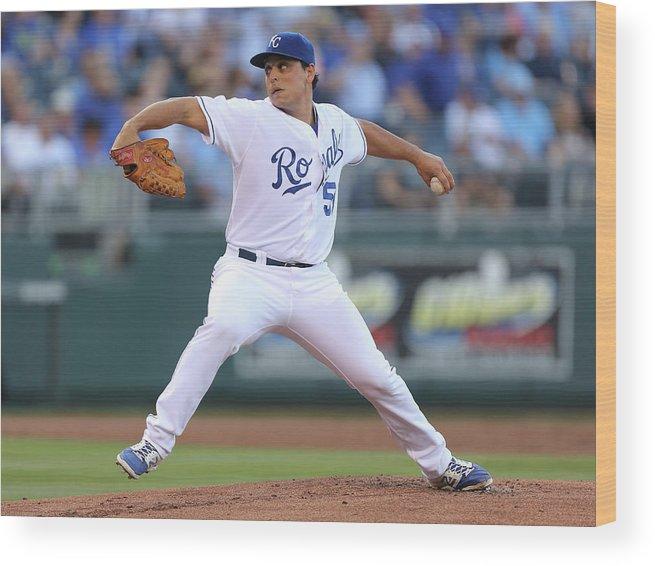 American League Baseball Wood Print featuring the photograph Jason Vargas by Ed Zurga