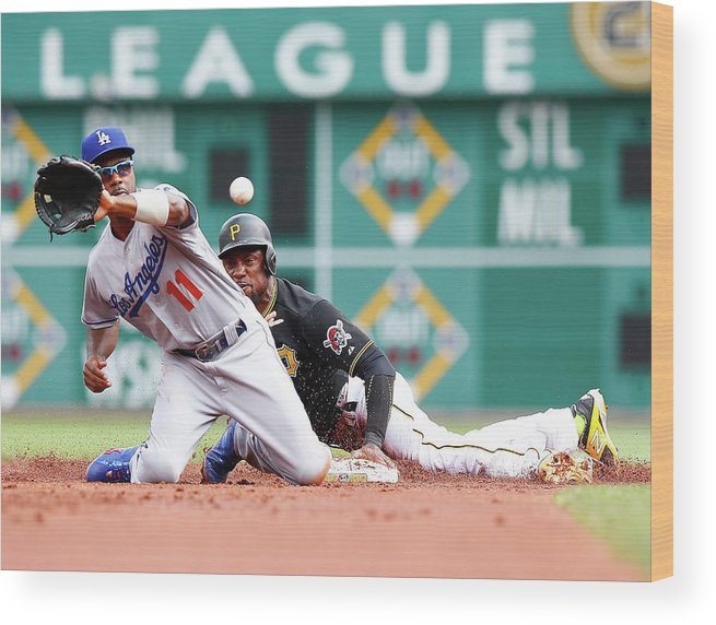 People Wood Print featuring the photograph Jimmy Rollins and Starling Marte by Jared Wickerham