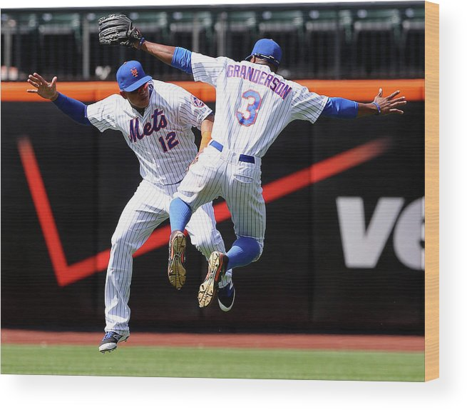 People Wood Print featuring the photograph Juan Lagares and Curtis Granderson by Elsa