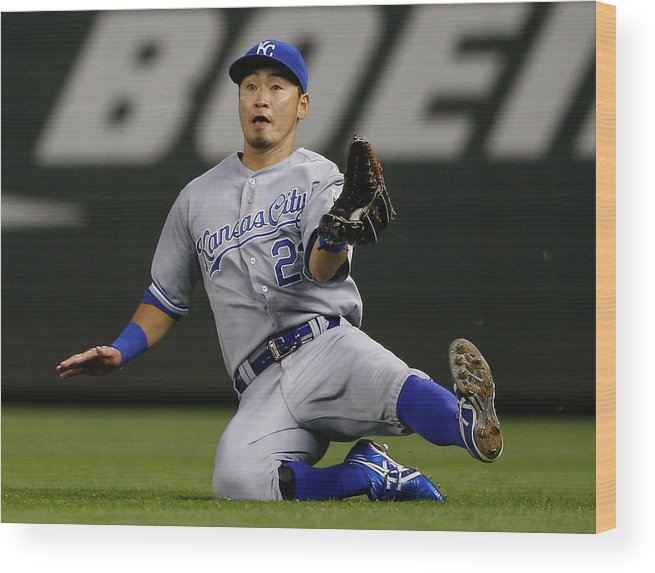 American League Baseball Wood Print featuring the photograph Justin Smoak by Otto Greule Jr