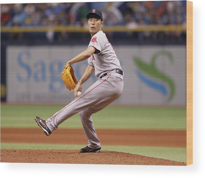 Ninth Inning Wood Print featuring the photograph Koji Uehara by Brian Blanco
