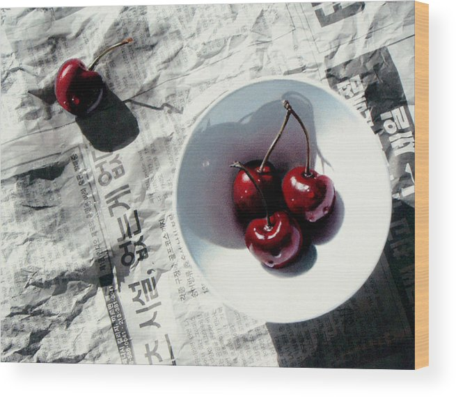 Cherries Wood Print featuring the painting Korean Cherries by Dianna Ponting