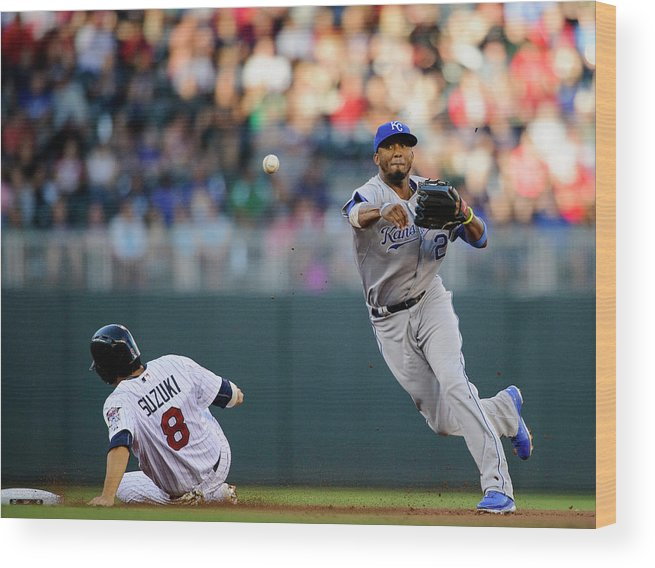 Double Play Wood Print featuring the photograph Kurt Suzuki and Alcides Escobar by Hannah Foslien