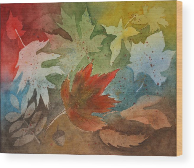 Leaves Wood Print featuring the painting Leaves II by Patricia Novack