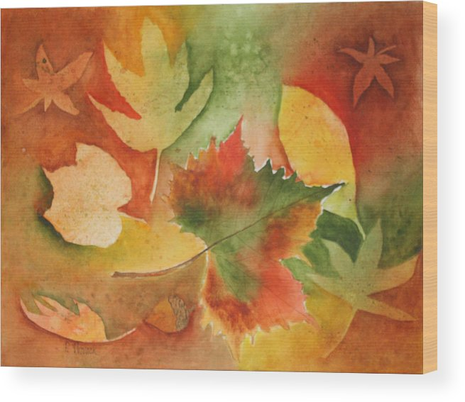 Leaves Wood Print featuring the painting Leaves III by Patricia Novack
