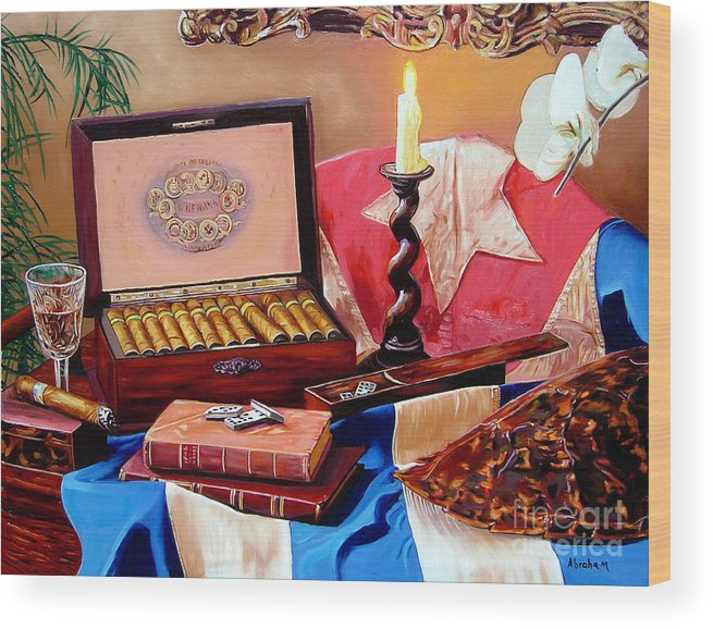 Cuban Art Wood Print featuring the painting Legacy Of Pleasures by Jose Manuel Abraham