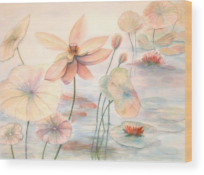Lily Pads And Lotus Blossoms Wood Print featuring the painting Lily Pads by Ben Kiger