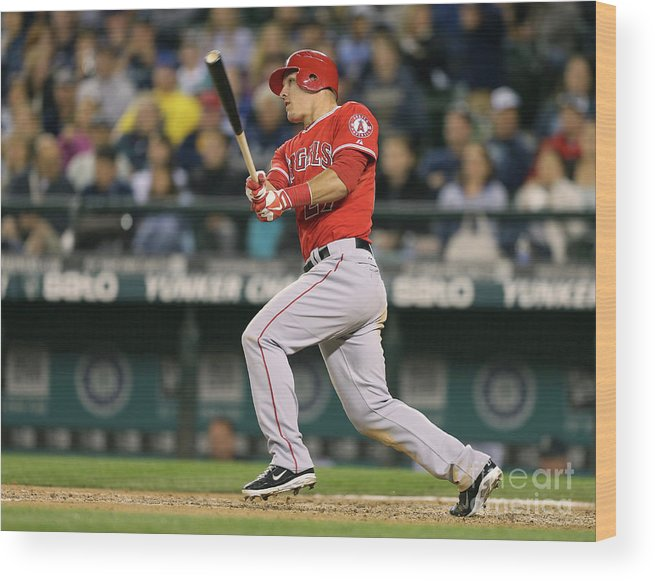 People Wood Print featuring the photograph Mike Trout by Otto Greule Jr