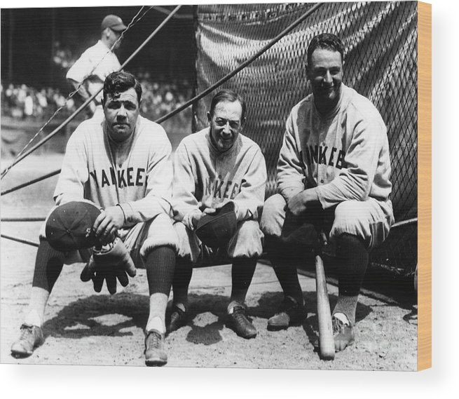 American League Baseball Wood Print featuring the photograph Miller Huggins, Lou Gehrig, and Babe Ruth by Transcendental Graphics
