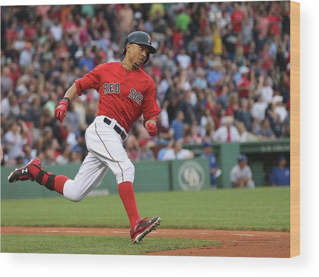 People Wood Print featuring the photograph Mookie Betts by Jim Rogash
