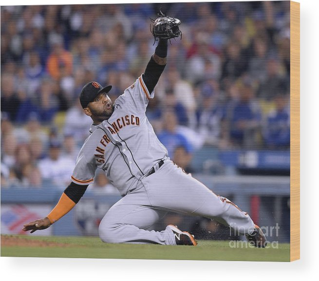 People Wood Print featuring the photograph Pablo Sandoval and Yasiel Puig by Harry How