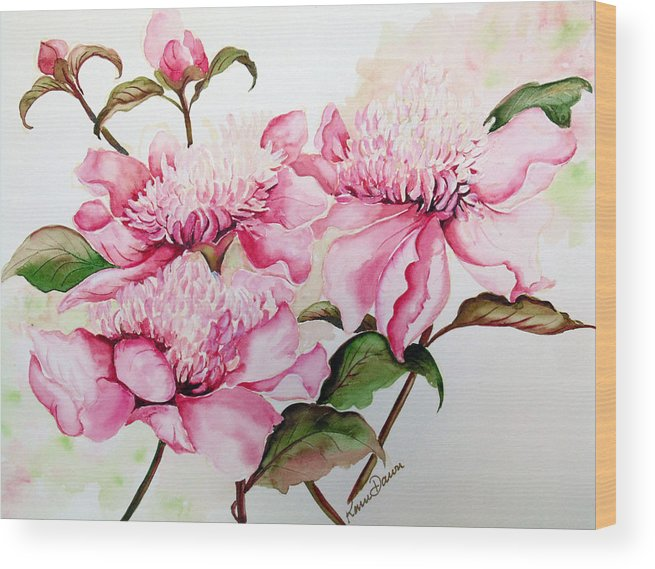 Flower Painting Flora Painting Pink Peonies Painting Botanical Painting Flower Painting Pink Painting Greeting Card Painting Pink Peonies Wood Print featuring the painting Peonies by Karin Dawn Kelshall- Best