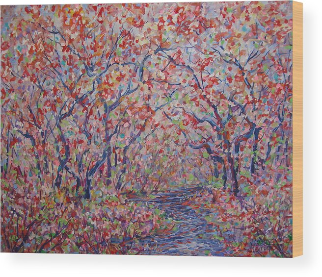 Landscape Wood Print featuring the painting Poetic Forest. by Leonard Holland