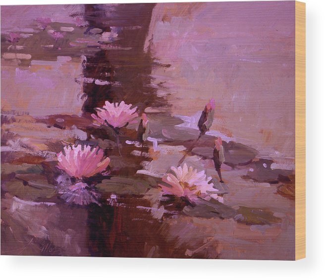 Water Lily Paintings Wood Print featuring the painting Pond Blossoms - water lilies by Betty Jean Billups