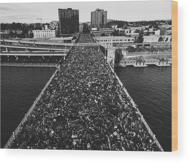 Protest Wood Print featuring the photograph Portland Protests #3 by Andrew Wallner