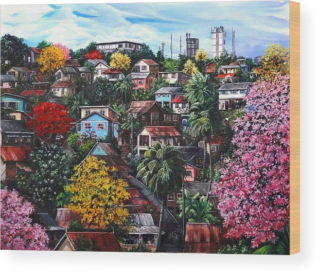 Landscape Painting Cityscape Painting Caribbean Painting Houses Hill Life Color Trees Poui Blossoms Trinidad And Tobago Floral Tropical Caribbean Wood Print featuring the painting Poui Calling For The Rains by Karin Dawn Kelshall- Best