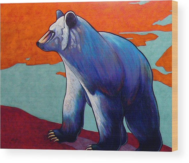Wildlife Wood Print featuring the painting Return of the Spirit Bear by Joe Triano