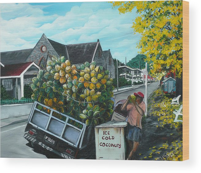 Caribbean Painting Coconuts Vendor Trinidad And Tobago Painting Savannah Paintings  Poui Tree Painting Tropical Painting Wood Print featuring the painting Savannah Coconut Vendor by Karin Dawn Kelshall- Best