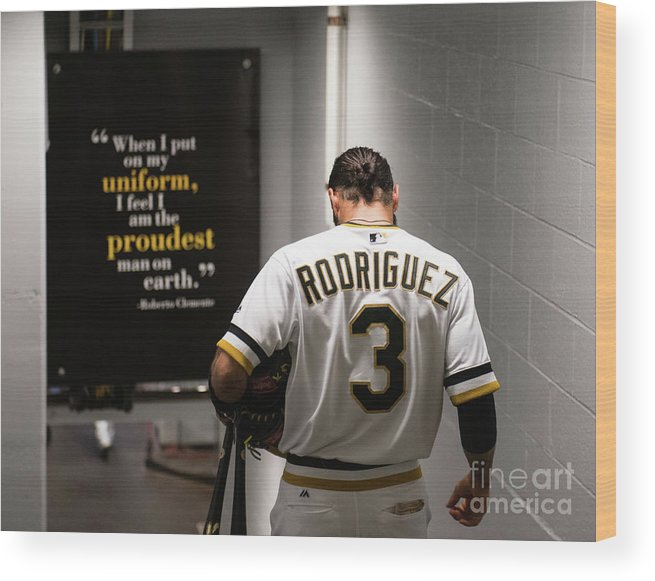 Sean Rodriguez Wood Print featuring the photograph Sean Rodriguez and Roberto Clemente by Justin Berl
