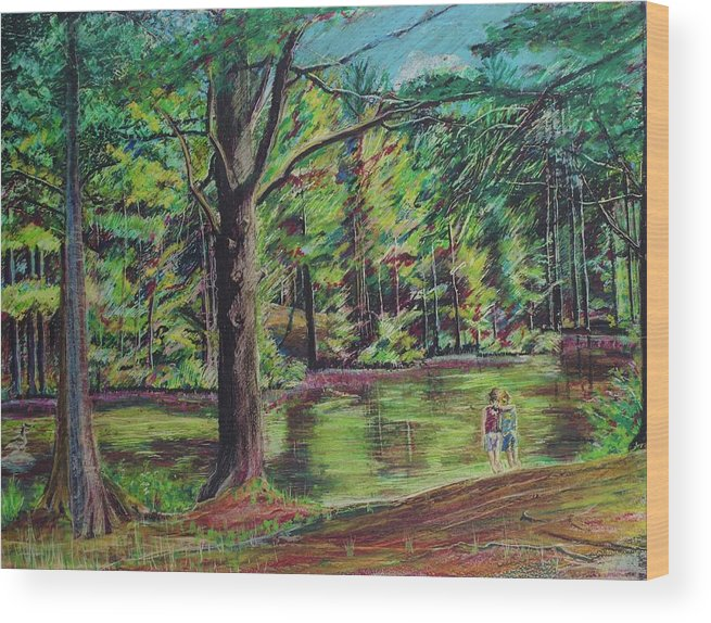 Family Wood Print featuring the pastel Sisters At Wason Pond by Sean Connolly