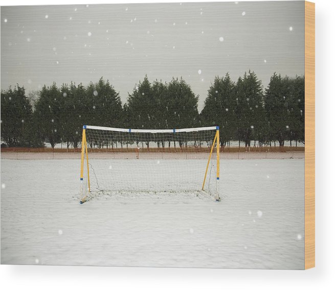 Tranquility Wood Print featuring the photograph Soccer net in winter by Ashley Jouhar