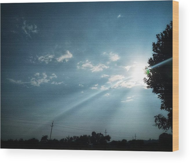 Sky Wood Print featuring the photograph Striking rays by Yvonne's Ogolla