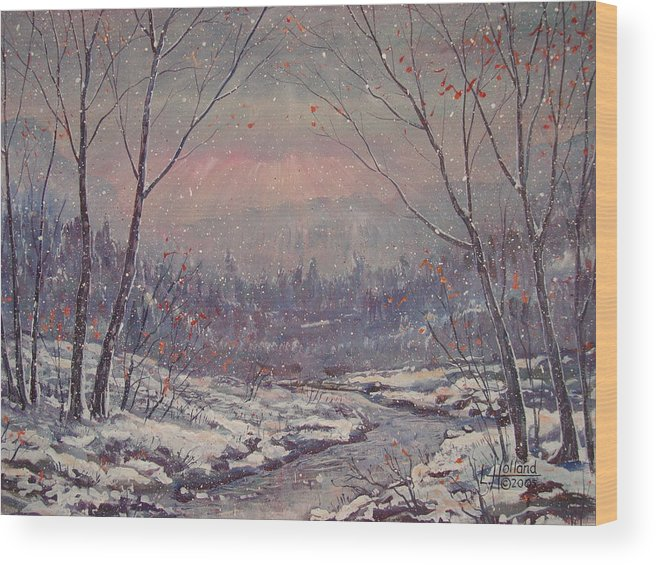 Landscape Wood Print featuring the painting Sunset In Winter. by Leonard Holland
