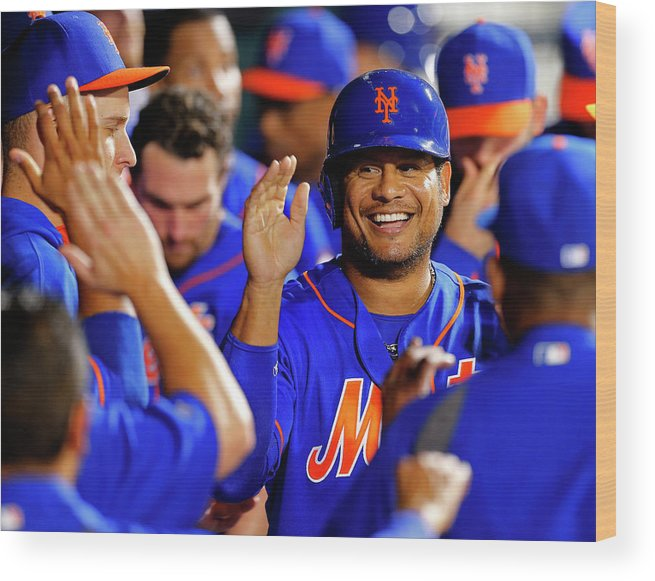 Second Inning Wood Print featuring the photograph Taylor Teagarden and Bobby Abreu by Rich Schultz