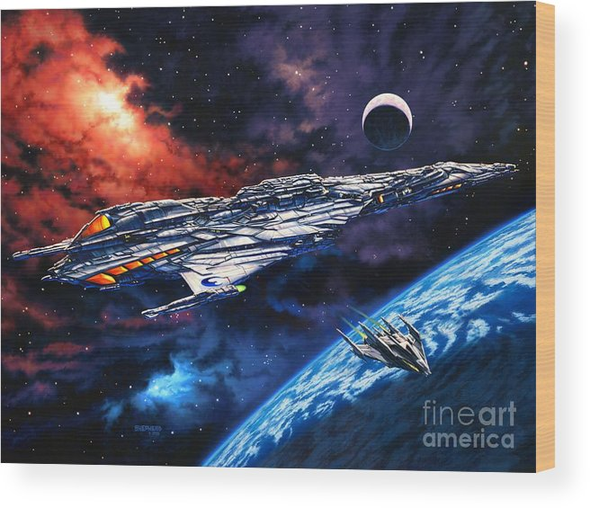 Space Ship Wood Print featuring the painting The Anprall by Stu Shepherd