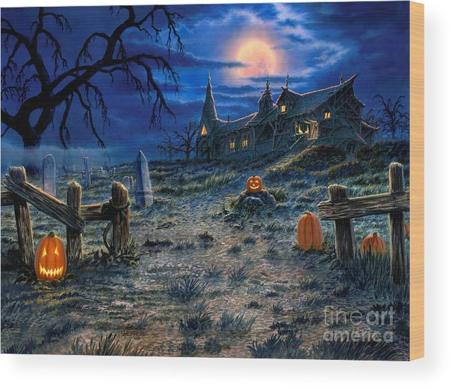 Halloween Wood Print featuring the painting The Haunted House by Stu Shepherd