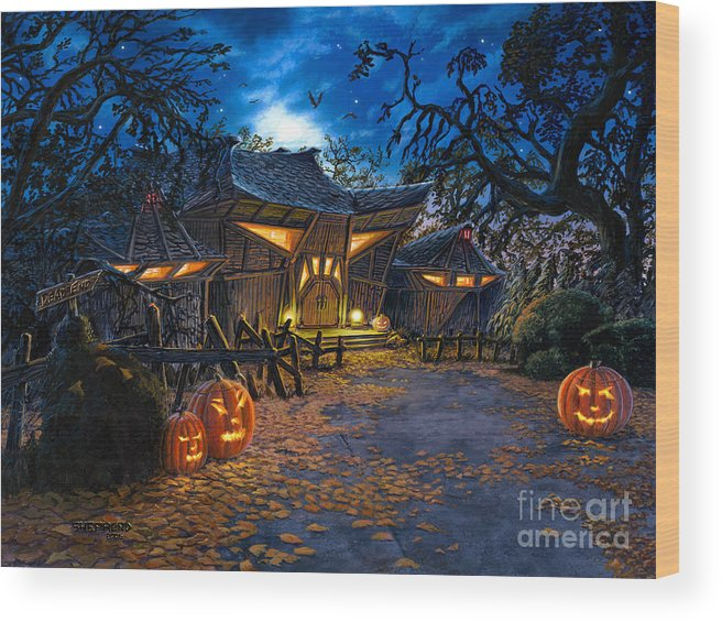 Haunted House Wood Print featuring the painting The House At Dead End by Stu Shepherd