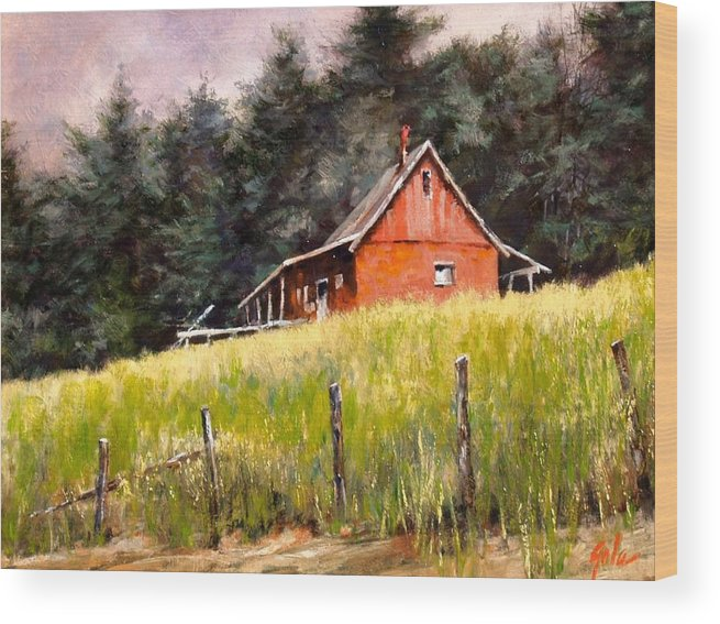 Landscape Wood Print featuring the painting The Red Coach Stop by Jim Gola