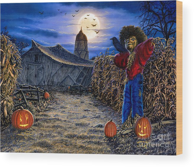 Halloween Wood Print featuring the painting The Spooky Scarecrow by Stu Shepherd