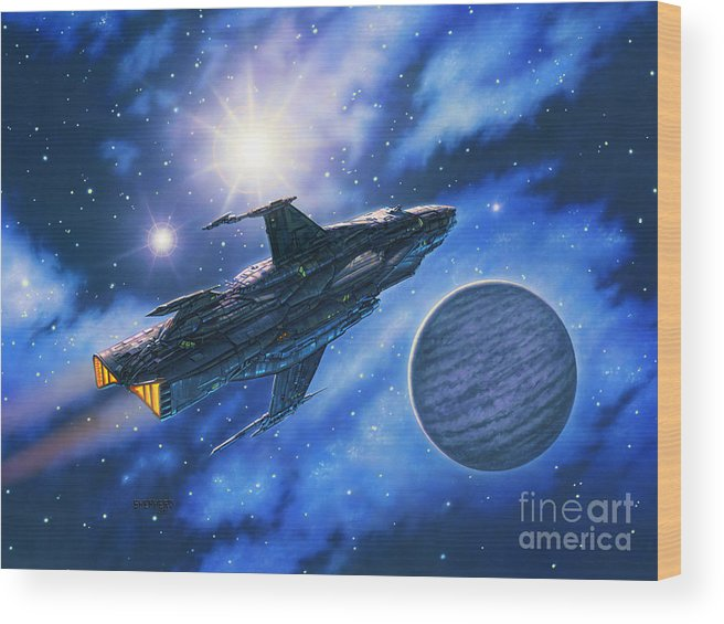 Spaceship Wood Print featuring the painting The Verrhawk At Jovox by Stu Shepherd