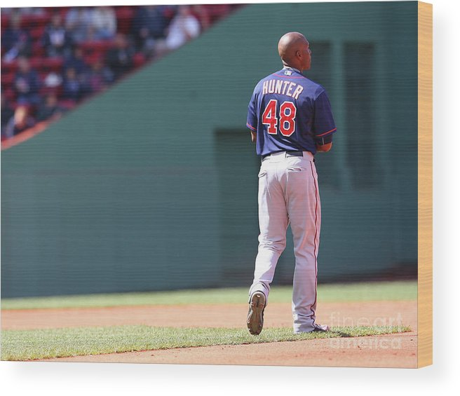 People Wood Print featuring the photograph Torii Hunter by Jim Rogash