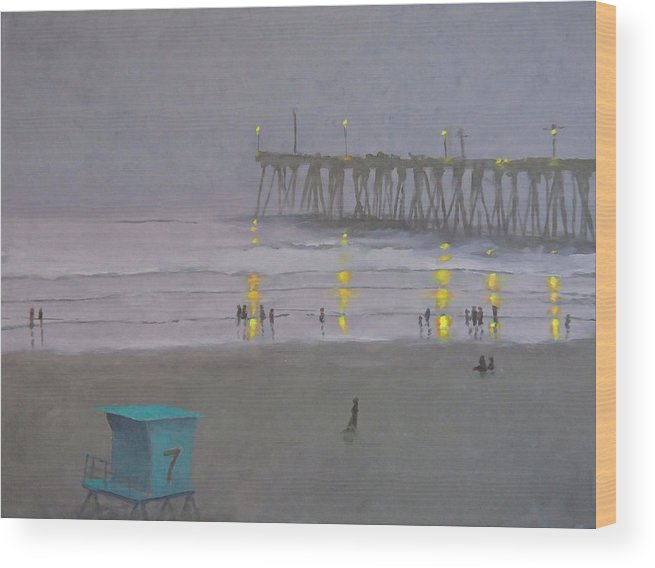 Evening Wood Print featuring the painting Tower Number Seven Evening by Philip Fleischer