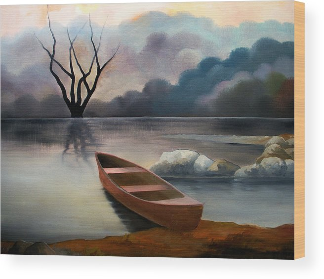 Duck Wood Print featuring the painting Tranquility by Sergey Bezhinets