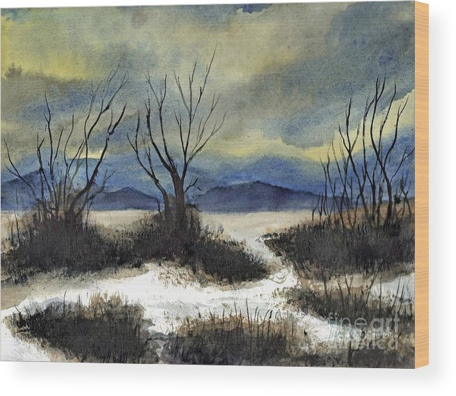 California Wood Print featuring the painting Winter Cold Big Bear Lake by Randy Sprout