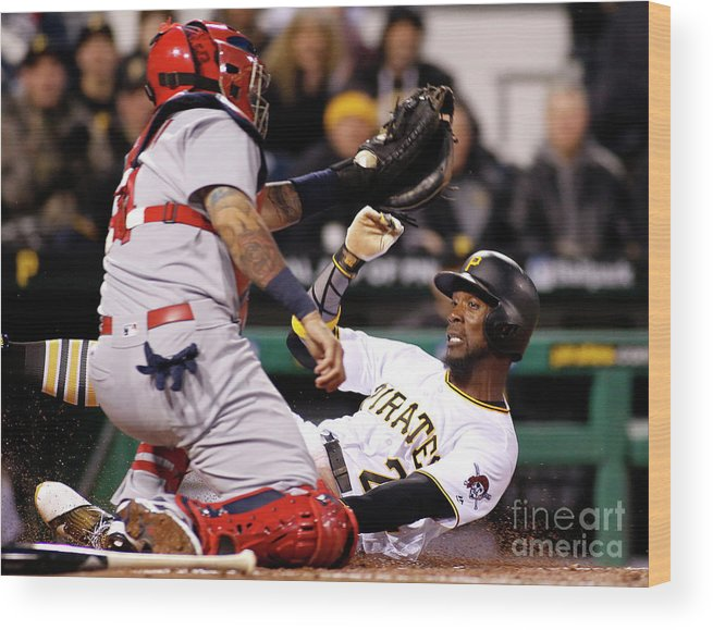 People Wood Print featuring the photograph Yadier Molina and Andrew Mccutchen by Justin K. Aller