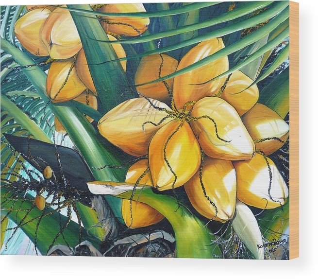 Coconut Painting Botanical Painting  Tropical Painting Caribbean Painting Original Painting Of Yellow Coconuts On The Palm Tree Wood Print featuring the painting Yellow Coconuts by Karin Dawn Kelshall- Best