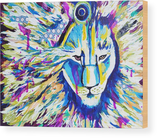 Lion Wood Print featuring the painting Zoom Lion by Goddess Rockstar