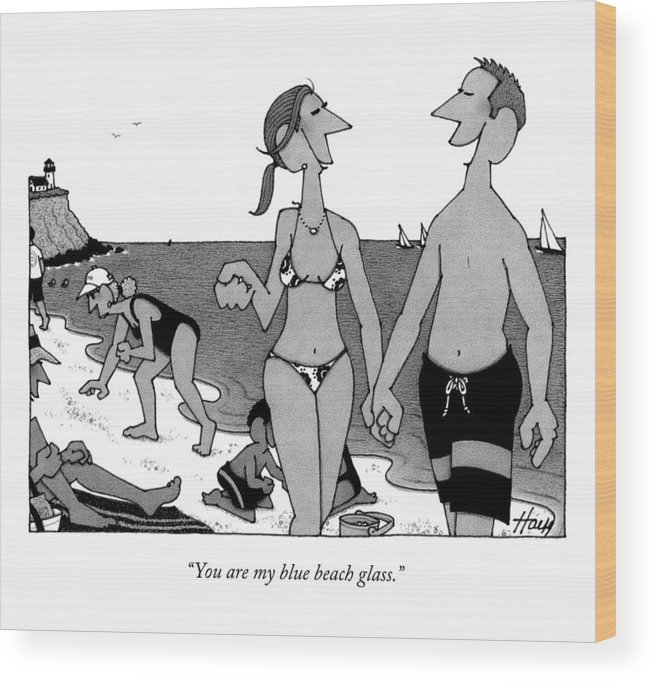 Beach Wood Print featuring the drawing You Are My Blue Beach Glass by William Haefeli