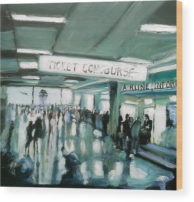 Airport Wood Print featuring the painting 1960's Airport by Paul Mitchell