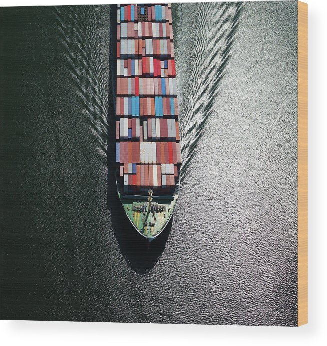 Freight Transportation Wood Print featuring the photograph Container Ship Bow by Dan prat