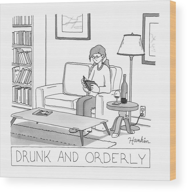 Captionless Wood Print featuring the drawing Drunk And Orderly -- A Woman Reads A Book by Charlie Hankin