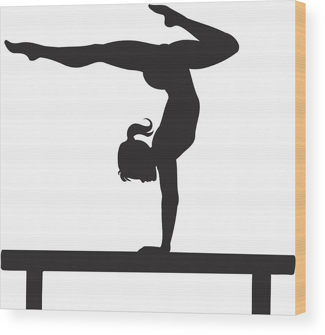Child Wood Print featuring the drawing Gymnastics by Zaricm